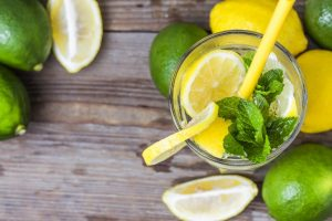 A glass of homemade Mint lemonade